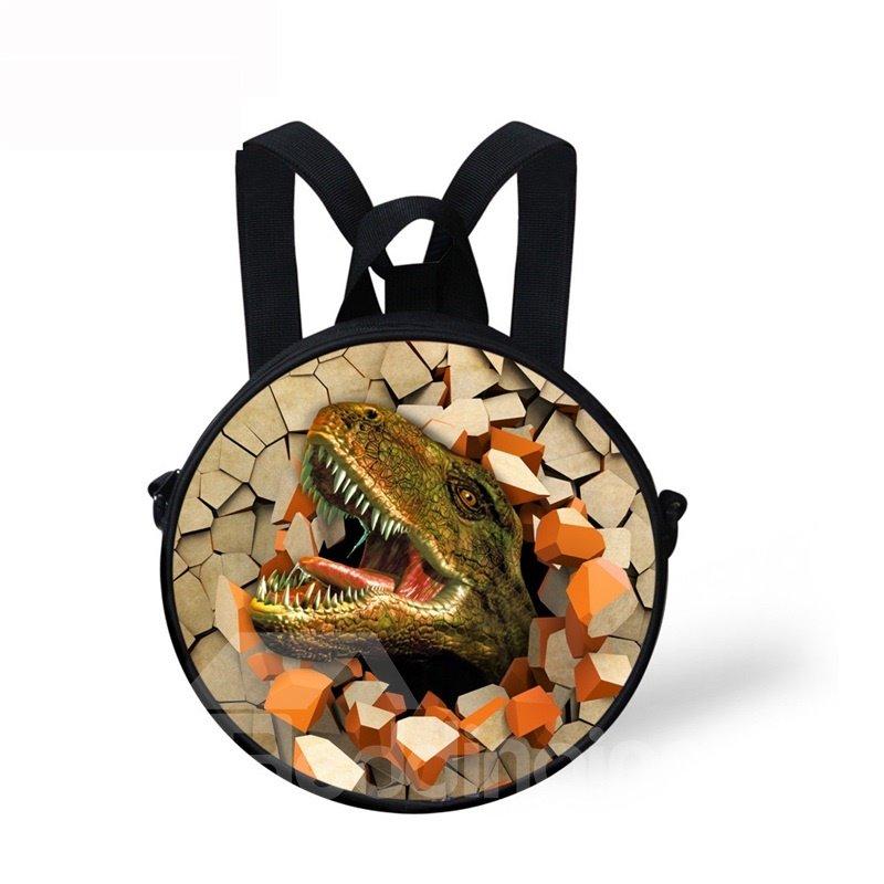 Round 3D Dinosaur Pattern School Bag Shoulders Backpack