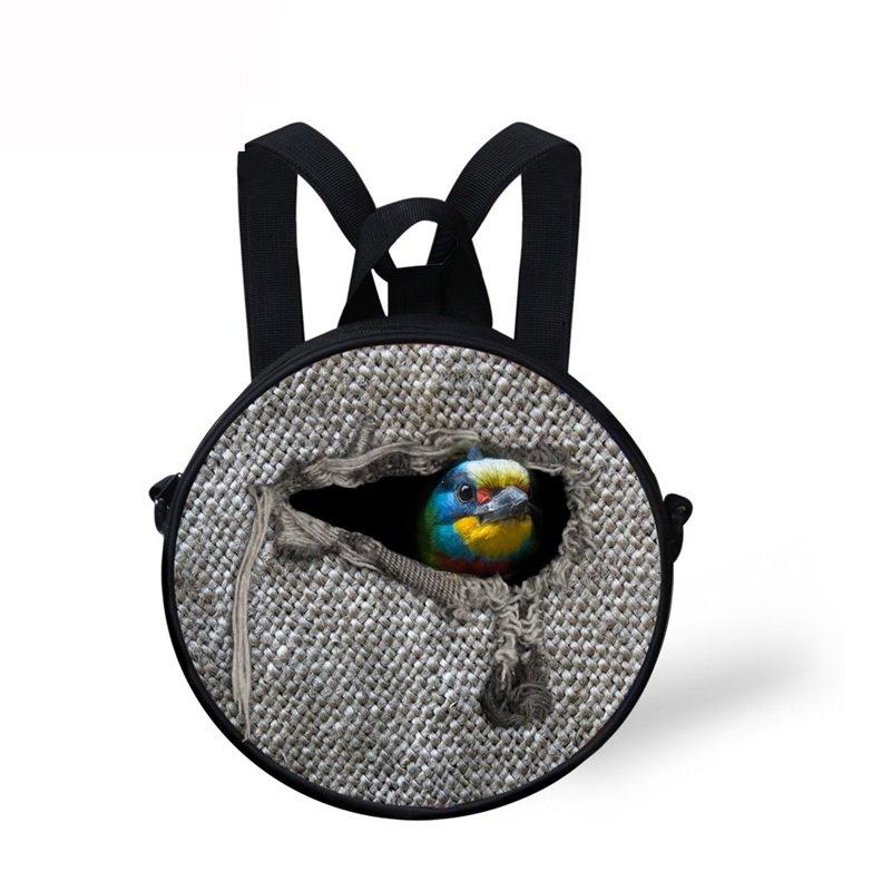 Round 3D Bird Animal Pattern School Bag Shoulders Backpack