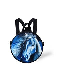 Oil Painting Blue Horse Pattern School Bag Shoulders Backpack