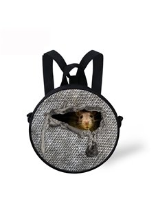 Mouse in Cloth 3D Pattern Round School Bag Shoulders Backpack