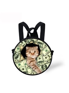 Cat Hold Money 3D Pattern Round School Bag Shoulders Backpack