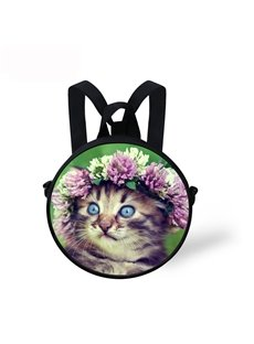 Cat with Floral Pattern School Bag Shoulders Backpack