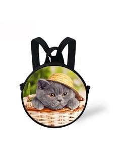 Round 3D Cat with Hat Pattern School Bag Shoulders Backpack