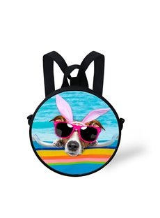 Round 3D Swimming Pool Puppy Pattern School Bag Shoulders Backpack