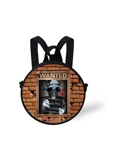 Dog Criminal Pattern School Bag Shoulders Backpack
