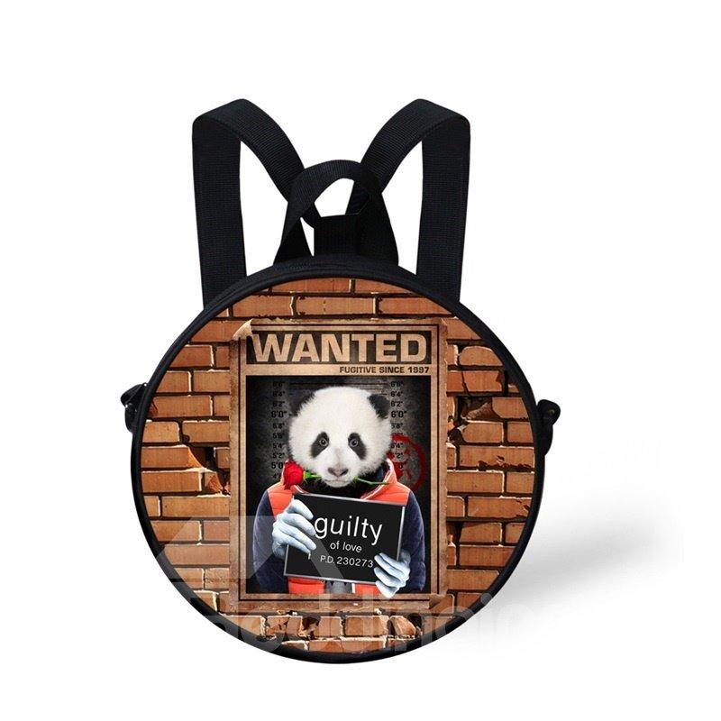 Round 3D Panda Pattern School Bag Shoulders Backpack