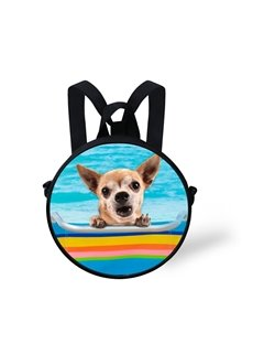 Chihuahua Pool 3D Pattern Round School Bag Shoulders Backpack