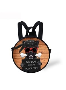 Pirate Bad Dog 3D Pattern Round School Bag Shoulders Backpack