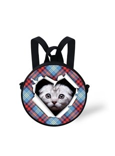 Cat in Heart 3D Pattern Round School Bag Shoulders Backpack