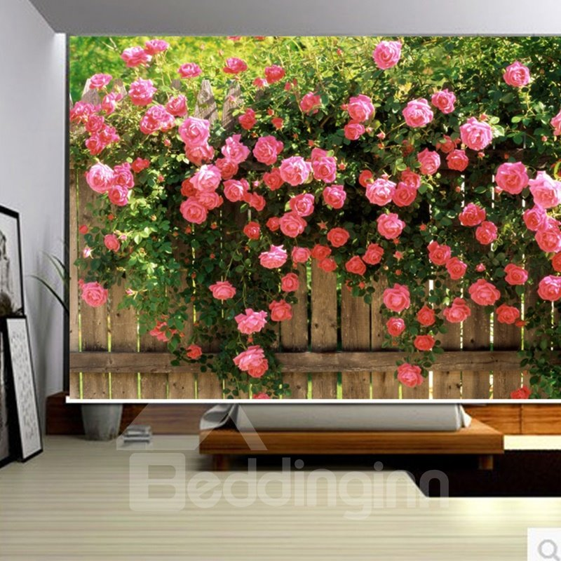 3D Red Rose Printed Modern Style Decoration and Blackout Curtain Roller Shade