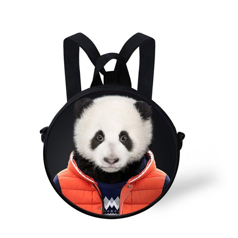 Round 3D Mr. Panda Pattern School Bag Shoulders Backpack