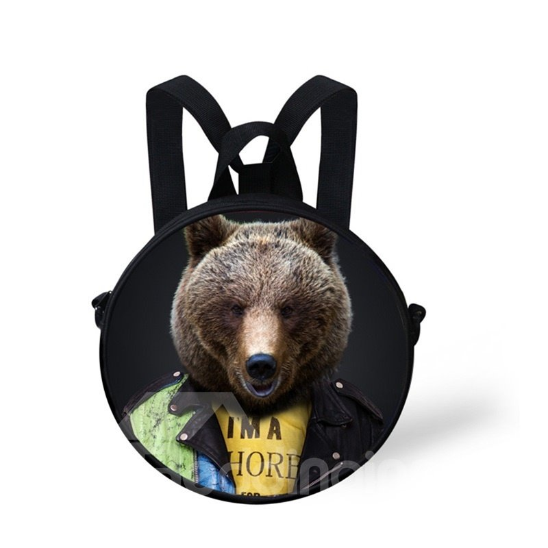 Round 3D Mr. Bear Pattern School Bag Shoulders Backpack