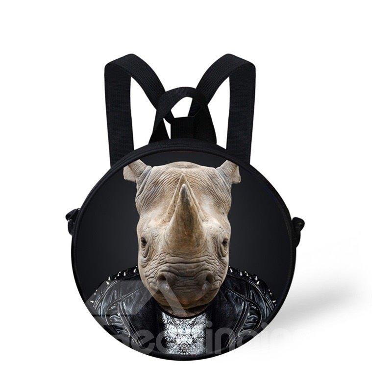 Round 3D Mr. Rhinoceros Pattern School Bag Shoulders Backpack