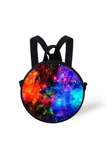 Red Galaxy 3D Pattern Round School Bag Shoulders Backpack