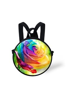 Colorful Flower 3D Pattern Round School Bag Shoulders Backpack
