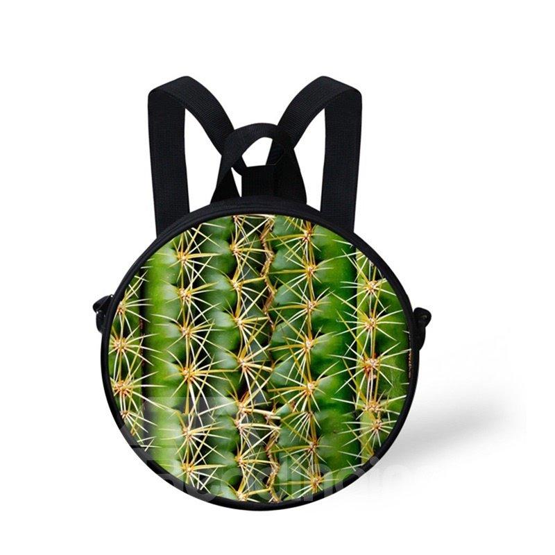 Round 3D Cactus Pattern School Bag Shoulders Backpack