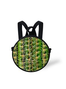 Round 3D Cactus Pattern School Bag Shoulders Backpack