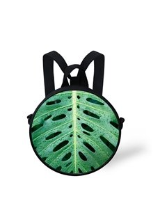 Tropical Leaves 3D Pattern Round School Bag Shoulders Backpack