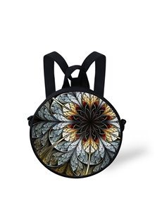 Floral 3D Pattern Round School Bag Shoulders Backpack