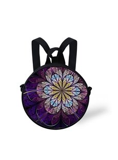 Purple Mandala 3D Pattern Round School Bag Shoulders Backpack