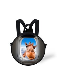 Giraffe Sky 3D Pattern Round School Bag Shoulders Backpack