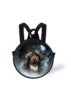 Sadness Cat 3D Pattern Round School Bag Shoulders Backpack