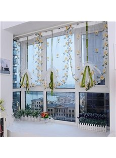 Decoration Beautiful Chrysanthemum Silk Sheer Embroidery Fresh and Country Style Roman Sheer Shade