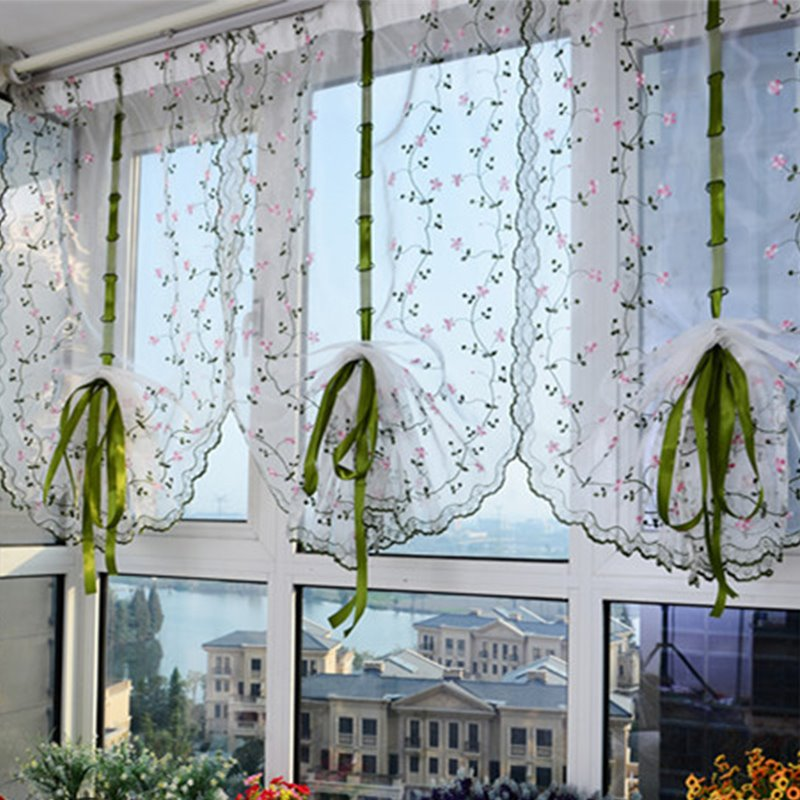 Decoration Small Flowers Silk Sheer Embroidery Fresh and Country Style Roman Sheer Shade
