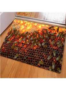 16×24in Beehive Pattern Rubber and Felt Water Absorption and Nonslip 3D Doormat