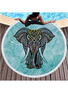 Green Summer Cool Thai elephant with Tassels Cotton Round Beach Throws Blanket