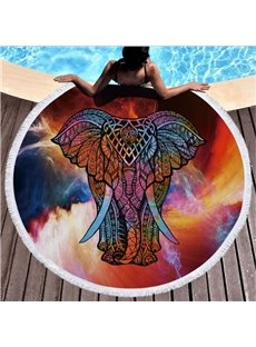 Mystery Colorful Galaxy Thai elephant with Tassels Beach Swimming Blanket