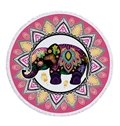 Bohemian with Tassels Thai Elephant Style Colorful Pattern For Beach Swimming Blanket