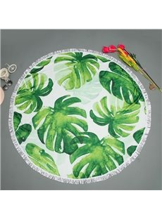 Palm Leaves Summer Green Cool with Tassels Cotton Polyester Round Beach Throws Blanket