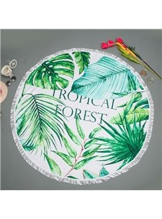 Tropical Forest Style Leaf Pattern with Tassels for Beach Swimming Bathing Blanket