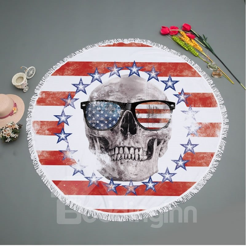 Red Stripes with Stars Skull Pattern with Tassels for BeachSwimming Picnic