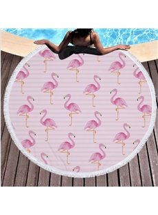 Flamingo Pattern Cotton Round Beach Throws Blanket with Tassels Superior Quality