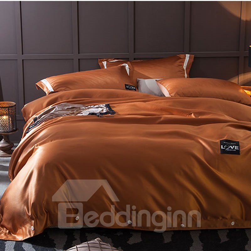 Solid Brown Luxury Style Silky 4-Piece Bedding Sets/Duvet Cover