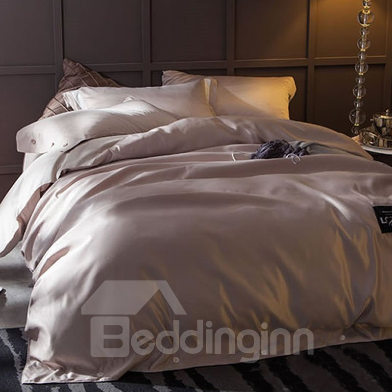 Solid Light Grey Luxury Style Silky 4-Piece Bedding Sets/Duvet Cover