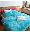 Full Size Bright Blue Princess Style 4-Piece Fluffy Bedding Sets/Duvet Cover