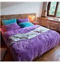 Full Size Solid Purple Princess Style 4-Piece Fluffy Bedding Sets/Duvet Cover