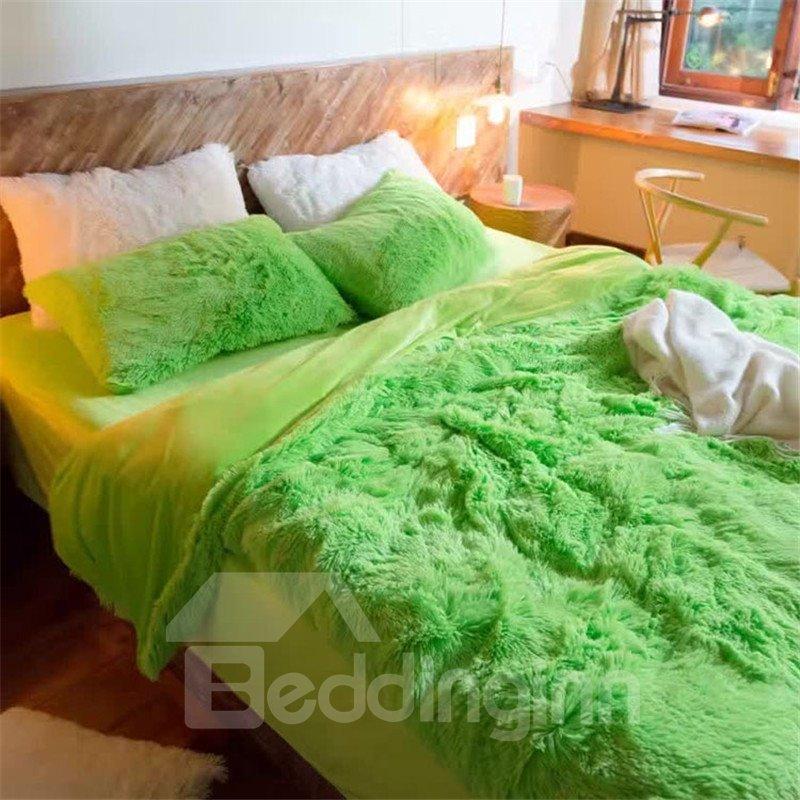 Full Size Aqua Green Princess Style 4-Piece Fluffy Bedding Sets/Duvet Cover