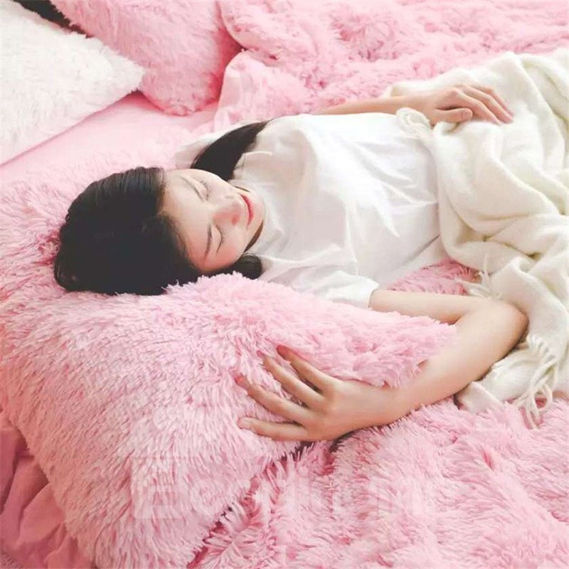 Full Size Solid Pink Princess Style 4-Piece Fluffy Bedding Sets/Duvet Cover