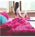 Full Size Rose Red Princess Style 4-Piece Fluffy Bedding Sets/Duvet Cover