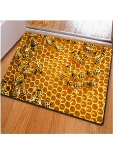 16×24in Yellow Beehive and Bees Rubber and Felt Waterproof and Nonslip 3D Doormat