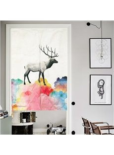 33*35in Colorful Watercolor Deer Pattern Versatile Wall/Door Tapestry