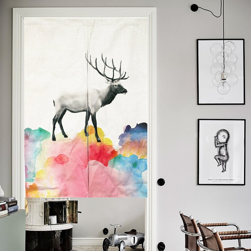 33*35in Colorful Watercolor Deer Pattern Versatile Wall/Door Tapestry