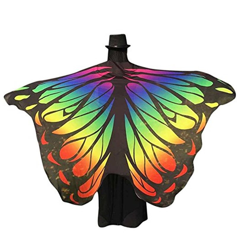 Women's Swimsuit Colorful Bikini Beach Cover Ups Butterfly Wings Pattern Chiffon