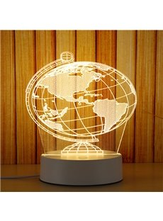 Transparent Tellurion Pattern and Base PVC Waterproof and Energy-saving 1 Bulb Table Lamp
