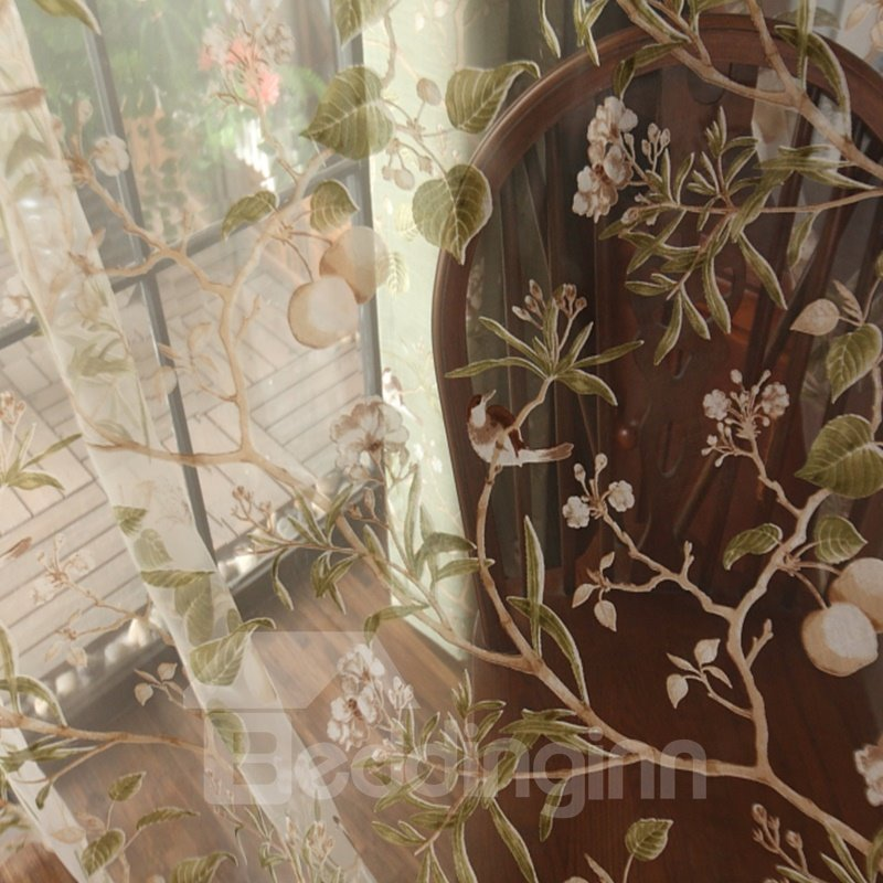 Decoration Polyester Embroidery Cute Swallows and Branches Country Style Sheer Curtain