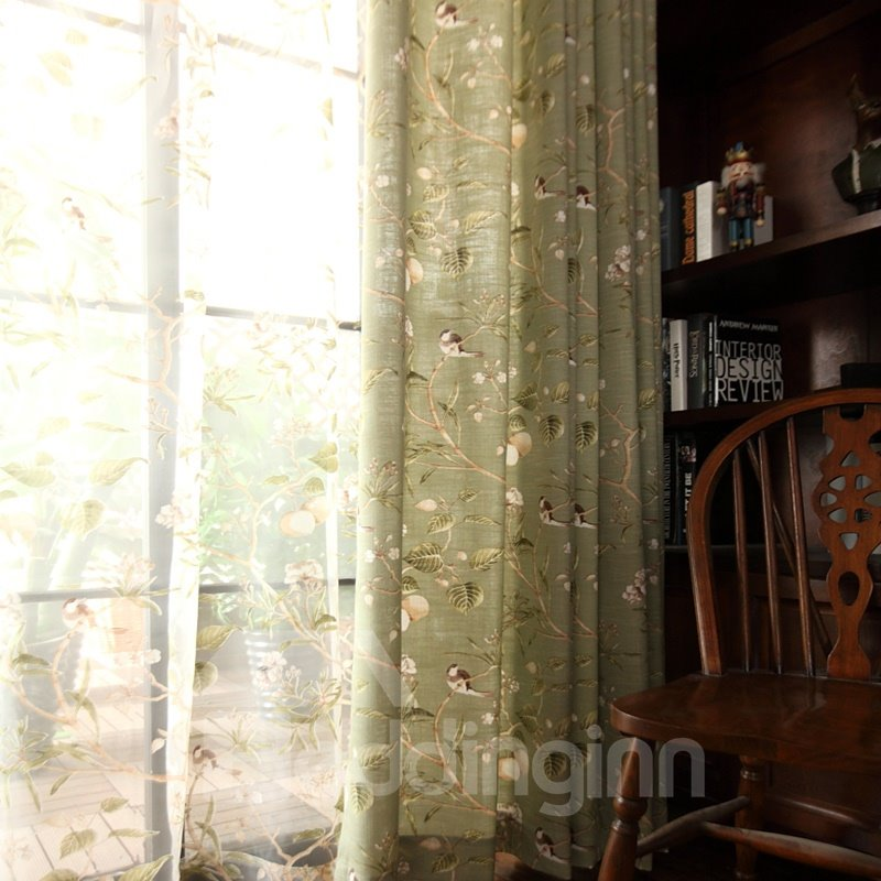 Decoration Cute Swallows and Branches Country Style Polyester Curtain Grommet Top Curtain